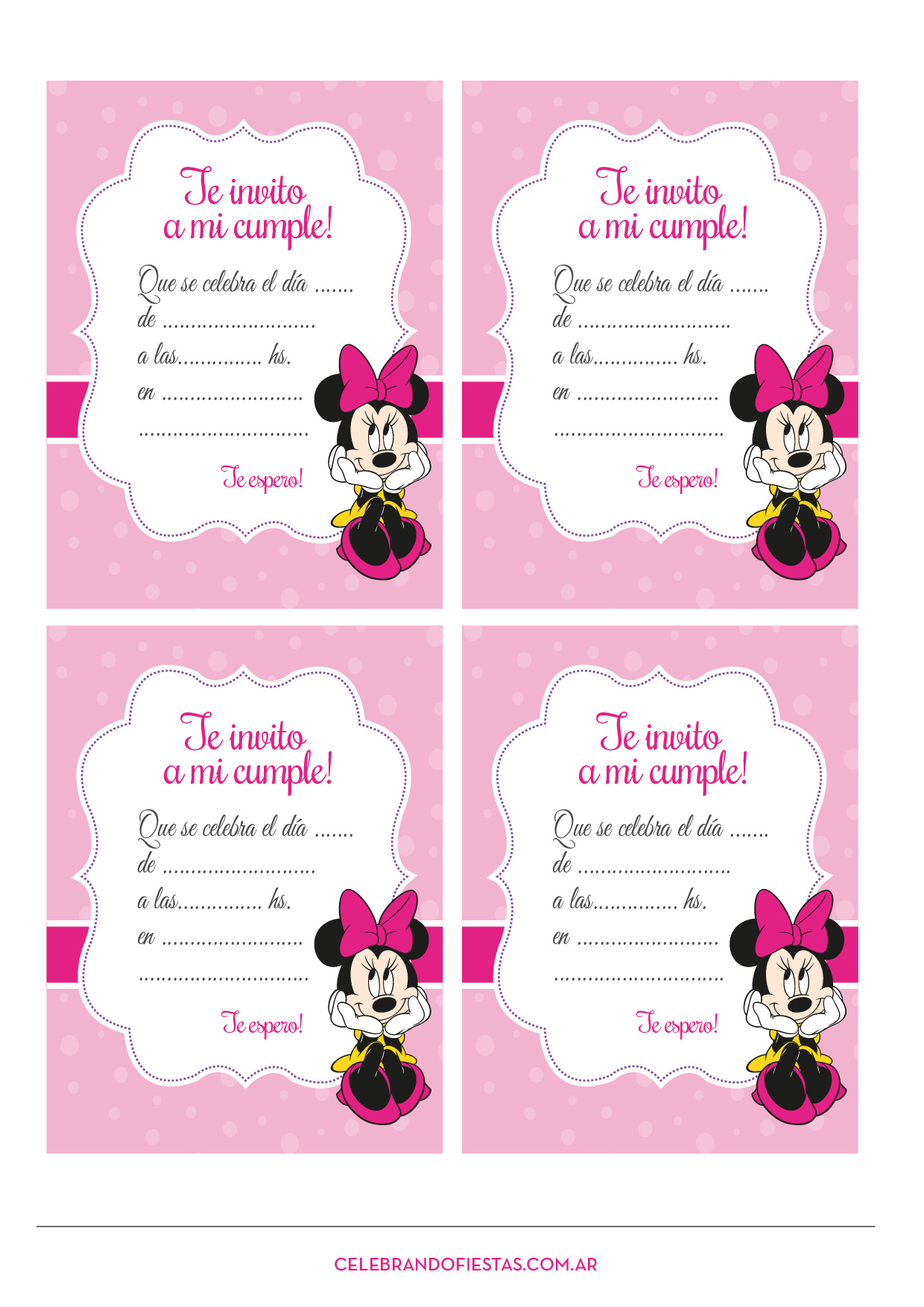 Decoracion Minnie Fucsia ~ Minnie Mouse Rosa  Blog Celebrando Fiestas